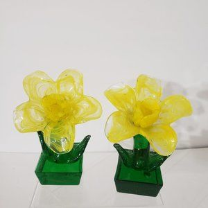 """Two Yellow Glass Flowers Decor Green Glass Vase Stem Attached 5.5"""" Floral Decor"""
